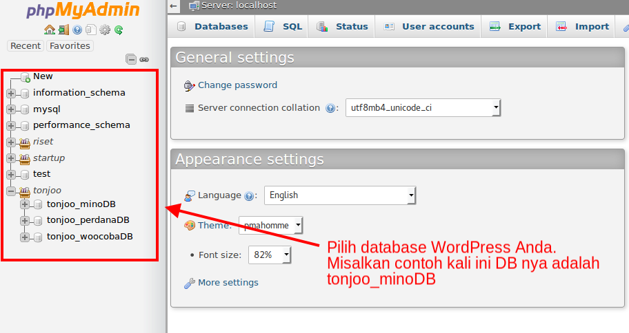 Pilih database WordPress Anda