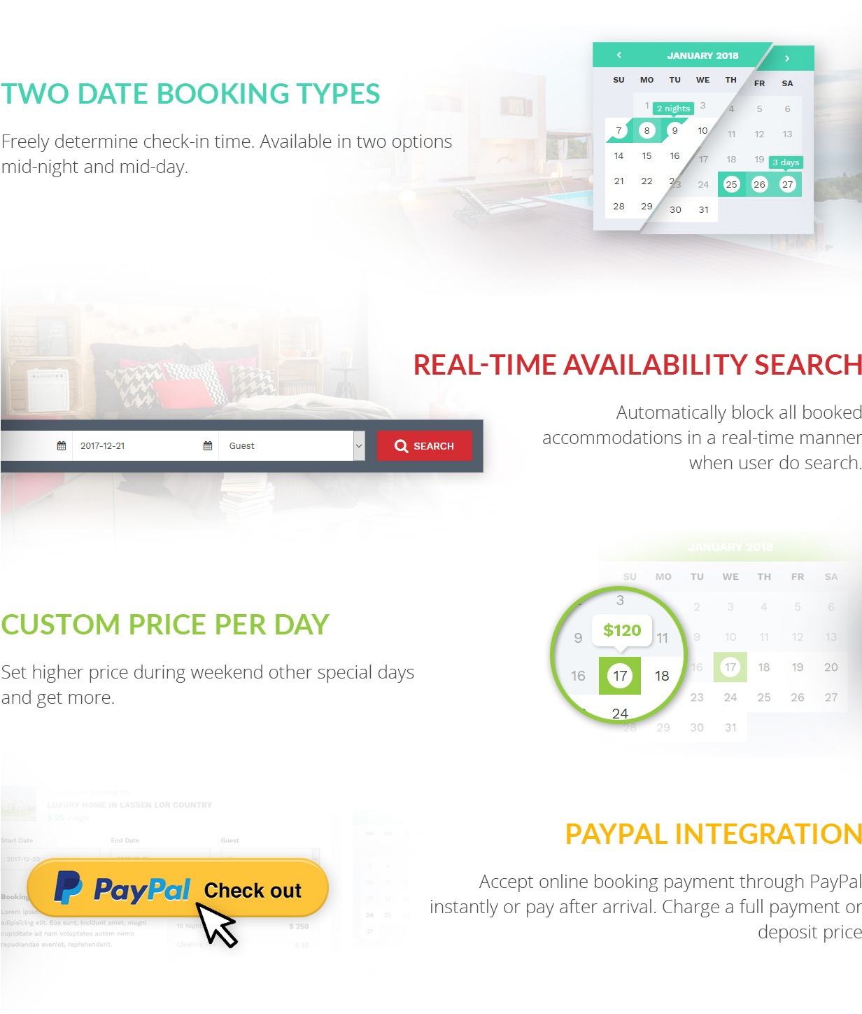 Booking Featueres Kensington WP Theme